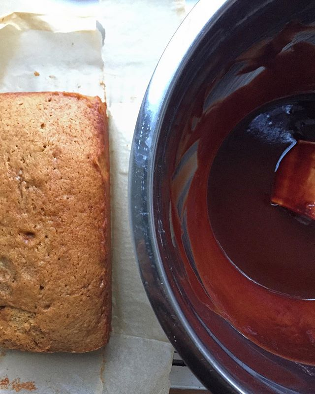 Muscovado cake cooling before pouring over chocolate icing.
