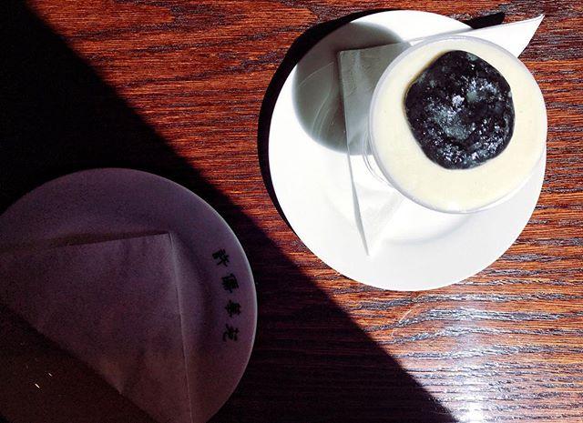 Almond ice cream with sesame seed sauce @xu_london