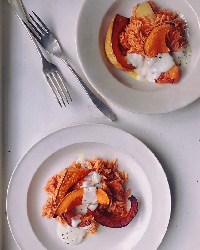 Roasted squash, tomato rice with seasoned yoghurt @sundaytimesfood today. The tomato rice is a dish shared with me by an Italian chef and friend. His grandmother would make this comforting and moreish dish and, when he made it for staff food in the restaurant, it would be fought over. The sweetness of the squash's soft flesh is offset by the light acidity of the yogurt.