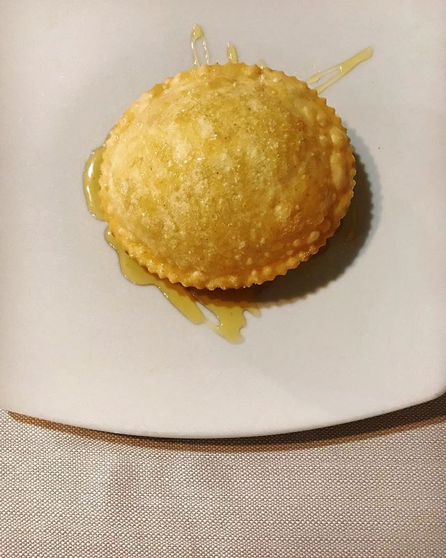 We made seadas daily in the restaurant and they are still, to this day, a favourite of mine. A simple dough is shaped similar to a flying saucer, filled with pecorino, then fried until swollen and crisp with a molten center. Served cloaked in honey.